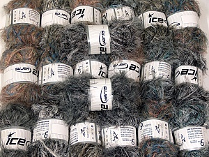Eyelash Blends This mixed lot includes a total of 2000 gr (70.5 oz.) yarn. There is no standard for ball weight. Also disregard any information on the labels. You will get what you see in the photo. Brand ICE, fnt2-64338
