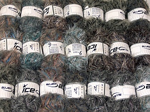 Eyelash Blends This mixed lot includes a total of 2000 gr (70.5 oz.) yarn. There is no standard for ball weight. Also disregard any information on the labels. You will get what you see in the photo. Brand ICE, fnt2-64343
