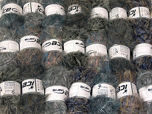 Eyelash Blends This mixed lot includes a total of 2000 gr (70.5 oz.) yarn. There is no standard for ball weight. Also disregard any information on the labels. You will get what you see in the photo. Brand ICE, fnt2-64345