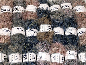 Eyelash Blends This mixed lot includes a total of 2000 gr (70.5 oz.) yarn. There is no standard for ball weight. Also disregard any information on the labels. You will get what you see in the photo. Brand ICE, fnt2-64348