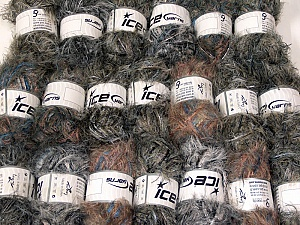 Eyelash Blends This mixed lot includes a total of 2000 gr (70.5 oz.) yarn. There is no standard for ball weight. Also disregard any information on the labels. You will get what you see in the photo. Brand ICE, fnt2-64350