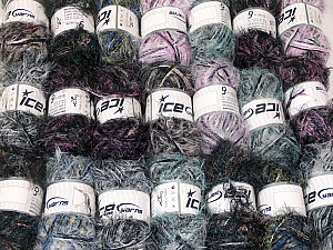 Eyelash Blends This mixed lot includes a total of 2000 gr (70.5 oz.) yarn. There is no standard for ball weight. Also disregard any information on the labels. You will get what you see in the photo. Brand ICE, fnt2-64351