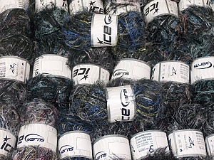 Eyelash Blends This mixed lot includes a total of 2000 gr (70.5 oz.) yarn. There is no standard for ball weight. Also disregard any information on the labels. You will get what you see in the photo. Brand ICE, fnt2-64353