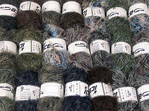 Eyelash Blends This mixed lot includes a total of 2000 gr (70.5 oz.) yarn. There is no standard for ball weight. Also disregard any information on the labels. You will get what you see in the photo. Brand ICE, fnt2-64355