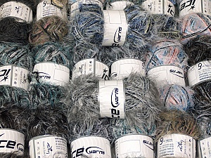 Eyelash Blends This mixed lot includes a total of 2000 gr (70.5 oz.) yarn. There is no standard for ball weight. Also disregard any information on the labels. You will get what you see in the photo. Brand ICE, fnt2-64357