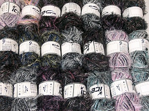 Eyelash Blends This mixed lot includes a total of 2000 gr (70.5 oz.) yarn. There is no standard for ball weight. Also disregard any information on the labels. You will get what you see in the photo. Brand ICE, fnt2-64360
