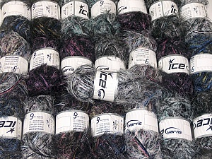 Eyelash Blends This mixed lot includes a total of 2000 gr (70.5 oz.) yarn. There is no standard for ball weight. Also disregard any information on the labels. You will get what you see in the photo. Brand ICE, fnt2-64361