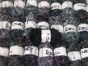 Eyelash Blends This mixed lot includes a total of 2000 gr (70.5 oz.) yarn. There is no standard for ball weight. Also disregard any information on the labels. You will get what you see in the photo. Brand ICE, fnt2-64364