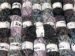 Eyelash Blends This mixed lot includes a total of 2000 gr (70.5 oz.) yarn. There is no standard for ball weight. Also disregard any information on the labels. You will get what you see in the photo. Brand ICE, fnt2-64368