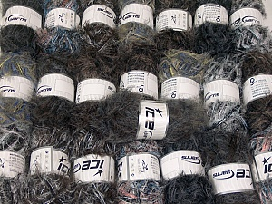 Eyelash Blends This mixed lot includes a total of 2000 gr (70.5 oz.) yarn. There is no standard for ball weight. Also disregard any information on the labels. You will get what you see in the photo. Brand ICE, fnt2-64372
