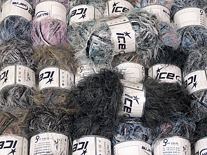 Eyelash Blends This mixed lot includes a total of 2000 gr (70.5 oz.) yarn. There is no standard for ball weight. Also disregard any information on the labels. You will get what you see in the photo. Brand ICE, fnt2-64374