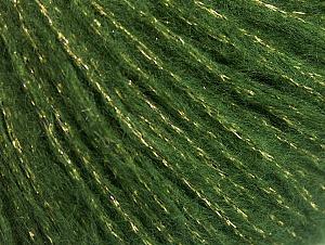 Fiber Content 67% Acrylic, 33% Metallic Lurex, Brand ICE, Green, Gold, fnt2-64415