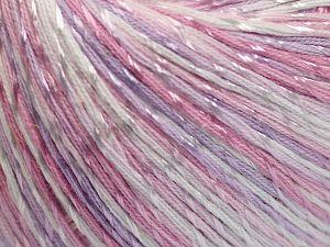 Fiber Content 70% Mercerised Cotton, 30% Viscose, White, Light Pink, Light Lilac, Brand Ice Yarns, fnt2-66000