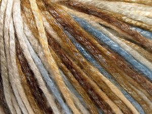 Tencel (Lyocell) is a form of rayon that consists of cellulose fiber made from beech and eucalyptus trees. Main characteristics of lyocell fibers are that they are sustainable, soft, absorbent, very strong when wet or dry, and resistant to wrinkles. Fiber Content 67% Tencel, 33% Polyamide, Light Blue, Brand Ice Yarns, Cream, Brown Shades, fnt2-66207