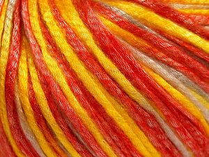 Tencel (Lyocell) is a form of rayon that consists of cellulose fiber made from beech and eucalyptus trees. Main characteristics of lyocell fibers are that they are sustainable, soft, absorbent, very strong when wet or dry, and resistant to wrinkles. Fiber Content 67% Tencel, 33% Polyamide, Yellow, Red, Light Beige, Brand Ice Yarns, fnt2-66213