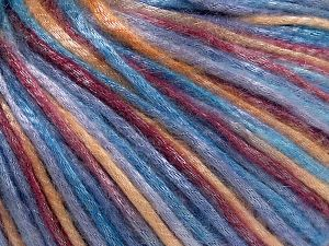 Tencel (Lyocell) is a form of rayon that consists of cellulose fiber made from beech and eucalyptus trees. Main characteristics of lyocell fibers are that they are sustainable, soft, absorbent, very strong when wet or dry, and resistant to wrinkles. Fiber Content 67% Tencel, 33% Polyamide, Light Lilac, Light Blue, Brand Ice Yarns, Gold, Burgundy, fnt2-66218