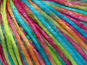 Tencel (Lyocell) is a form of rayon that consists of cellulose fiber made from beech and eucalyptus trees. Main characteristics of lyocell fibers are that they are sustainable, soft, absorbent, very strong when wet or dry, and resistant to wrinkles. Fiber Content 67% Tencel, 33% Polyamide, Turquoise, Brand Ice Yarns, Green, Gold, Fuchsia, fnt2-66221