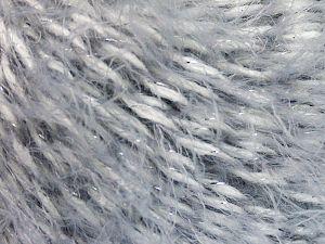 Fiber Content 50% Acrylic, 49% Polyamide, 1% Metallic Lurex, White, Light Grey, Brand Ice Yarns, fnt2-66247