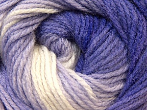 Fiber Content 100% Acrylic, White, Purple, Lilac, Brand ICE, Yarn Thickness 3 Light  DK, Light, Worsted, fnt2-22023