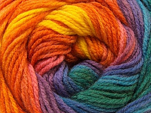Fiber Content 100% Acrylic, Yellow, Purple, Orange, Brand ICE, Green, Blue, Yarn Thickness 3 Light  DK, Light, Worsted, fnt2-22035
