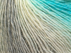 Fiber Content 50% Acrylic, 50% Wool, White, Turquoise, Brand Ice Yarns, Grey, Yarn Thickness 3 Light  DK, Light, Worsted, fnt2-27148