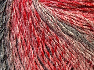 Fiber Content 50% Acrylic, 50% Wool, Red, Pink, Brand ICE, Grey, Yarn Thickness 3 Light  DK, Light, Worsted, fnt2-27156