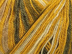 Fiber Content 40% Acrylic, 35% Wool, 25% Alpaca, Yellow, White, Olive Green, Khaki, Brand ICE, Yarn Thickness 2 Fine  Sport, Baby, fnt2-36982