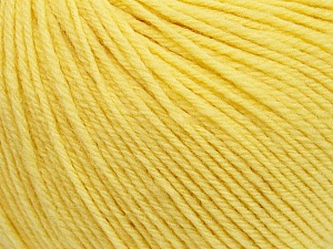 SUPERWASH WOOL is a DK weight 100% superwash wool yarn. Perfect stitch definition, and a soft-but-sturdy finished fabric. Projects knit and crocheted in SUPERWASH WOOL are machine washable! Lay flat to dry. Fiber Content 100% Superwash Wool, Yellow, Brand ICE, Yarn Thickness 3 Light  DK, Light, Worsted, fnt2-42935