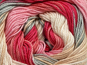 Fiber Content 100% Mercerised Cotton, Pink Shades, Brand ICE, Grey, Cream, Yarn Thickness 2 Fine  Sport, Baby, fnt2-44694