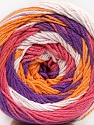 Fiber Content 100% Cotton, White, Salmon, Purple, Orange, Brand ICE, Yarn Thickness 3 Light  DK, Light, Worsted, fnt2-50562