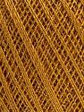 Ne: 10/3 Nm: 17/3 Fiber Content 96% Mercerised Cotton, 4% Metallic Lurex, Brand ICE, Dark Gold, Yarn Thickness 1 SuperFine  Sock, Fingering, Baby, fnt2-56319