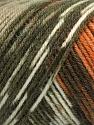 Fiber Content 50% Wool, 50% Acrylic, Turquoise, Orange, Khaki Shades, Brand ICE, Brown, Yarn Thickness 3 Light  DK, Light, Worsted, fnt2-56447
