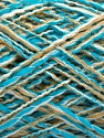 Fiber indhold 90% Akryl, 10% Polyamid, White, Turquoise, Brand ICE, Beige, fnt2-57874