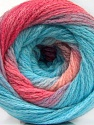 Fiber indhold 90% Akryl, 10% Polyamid, Turquoise, Pink Shades, Brand ICE, Yarn Thickness 4 Medium  Worsted, Afghan, Aran, fnt2-58120