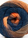 Fiber indhold 90% Akryl, 10% Polyamid, Orange Shades, Navy, Brand ICE, Yarn Thickness 4 Medium  Worsted, Afghan, Aran, fnt2-58121