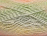 Note that this is a self-stripping yarn. Please see package photos for the color change. Machine washable and dryable. Fiber Content 100% Acrylic, Yellow, White, Salmon, Brand ICE, Grey, Green, fnt2-58195