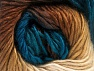 This is a self-striping yarn. Please see package photo for the color combination. Περιεχόμενο ίνας 100% Πριμοδότηση ακρυλικό, Teal, Brand ICE, Cream, Brown Shades, fnt2-63035