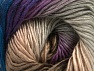 This is a self-striping yarn. Please see package photo for the color combination. Vezelgehalte 100% Premium acryl, Purple, Navy, Brand ICE, Grey, Brown, fnt2-63036