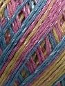 Fiber Content 70% Mercerised Cotton, 30% Viscose, Yellow, Pink, Brand KUKA, Blue, Yarn Thickness 2 Fine  Sport, Baby, fnt2-16817