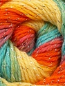 Fiber Content 95% Acrylic, 5% Lurex, Yellow, Orange, Light Blue, Brand Ice Yarns, Green, Yarn Thickness 3 Light  DK, Light, Worsted, fnt2-22057