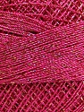 Fiberinnhold 70% Polyester, 30% Metallisk Lurex, Brand Ice Yarns, Gold, Fuchsia, Yarn Thickness 0 Lace  Fingering Crochet Thread, fnt2-40709