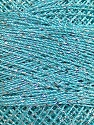 Fiber Content 70% Polyester, 30% Metallic Lurex, Silver, Light Turquoise, Brand ICE, Yarn Thickness 0 Lace  Fingering Crochet Thread, fnt2-41694