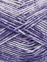 Strong pure cotton yarn in beautiful colours, reminiscent of bleached denim. Machine washable and dryable. Fiber Content 100% Cotton, White, Lilac, Brand ICE, Yarn Thickness 3 Light  DK, Light, Worsted, fnt2-42570