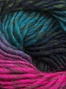 Fiber Content 100% Wool, Turquoise, Brand Ice Yarns, Fuchsia, Black, Yarn Thickness 4 Medium  Worsted, Afghan, Aran, fnt2-43066