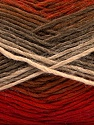 This is a self-striping yarn. Please see package photo for the color combination. Fiber Content 100% Acrylic, Red, Khaki, Brand Ice Yarns, Burgundy, Brown, Beige, Yarn Thickness 3 Light  DK, Light, Worsted, fnt2-46810