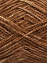 Fiber Content 40% Cotton, 35% Acrylic, 15% Mohair, 10% Metallic Lurex, Brand Ice Yarns, Gold, Brown, fnt2-47489