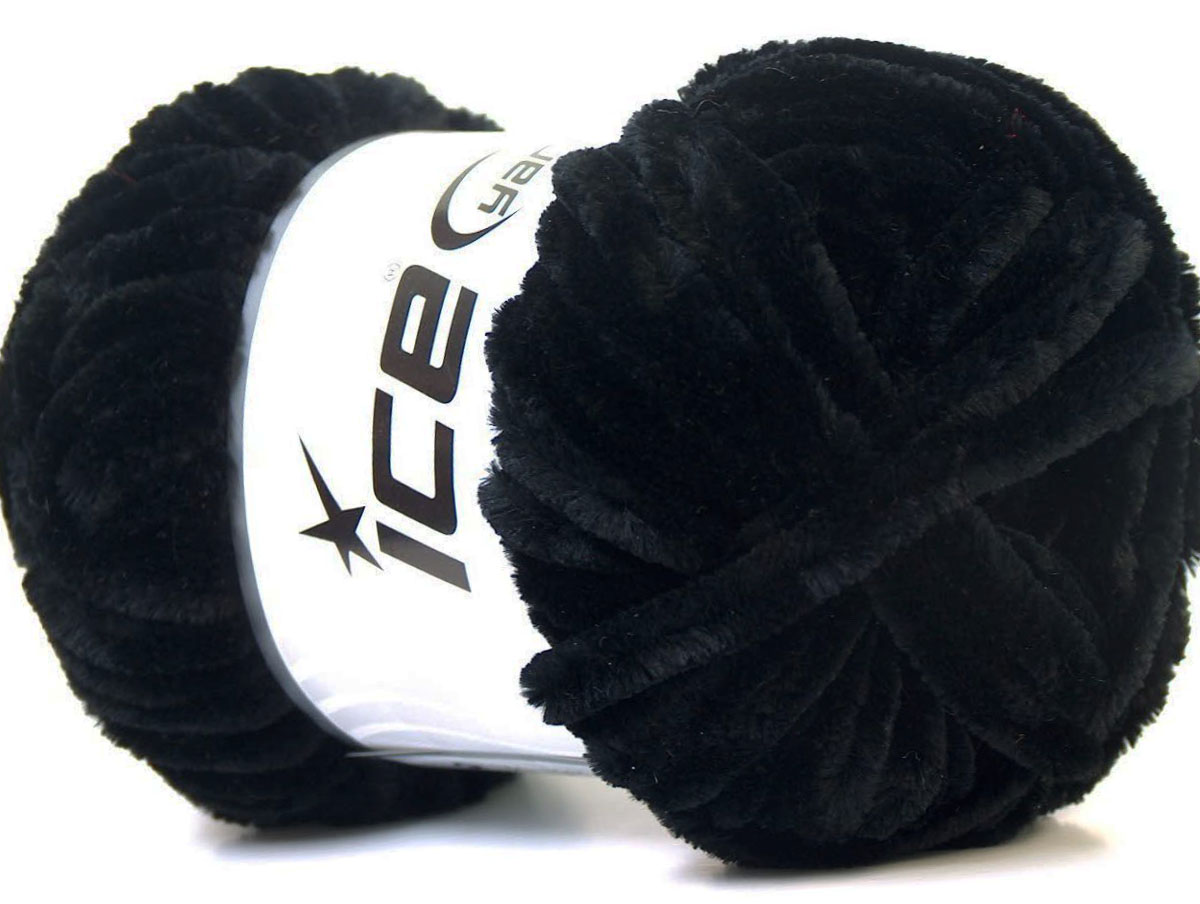Velvet Chenille Black At Ice Yarns Online Yarn Store