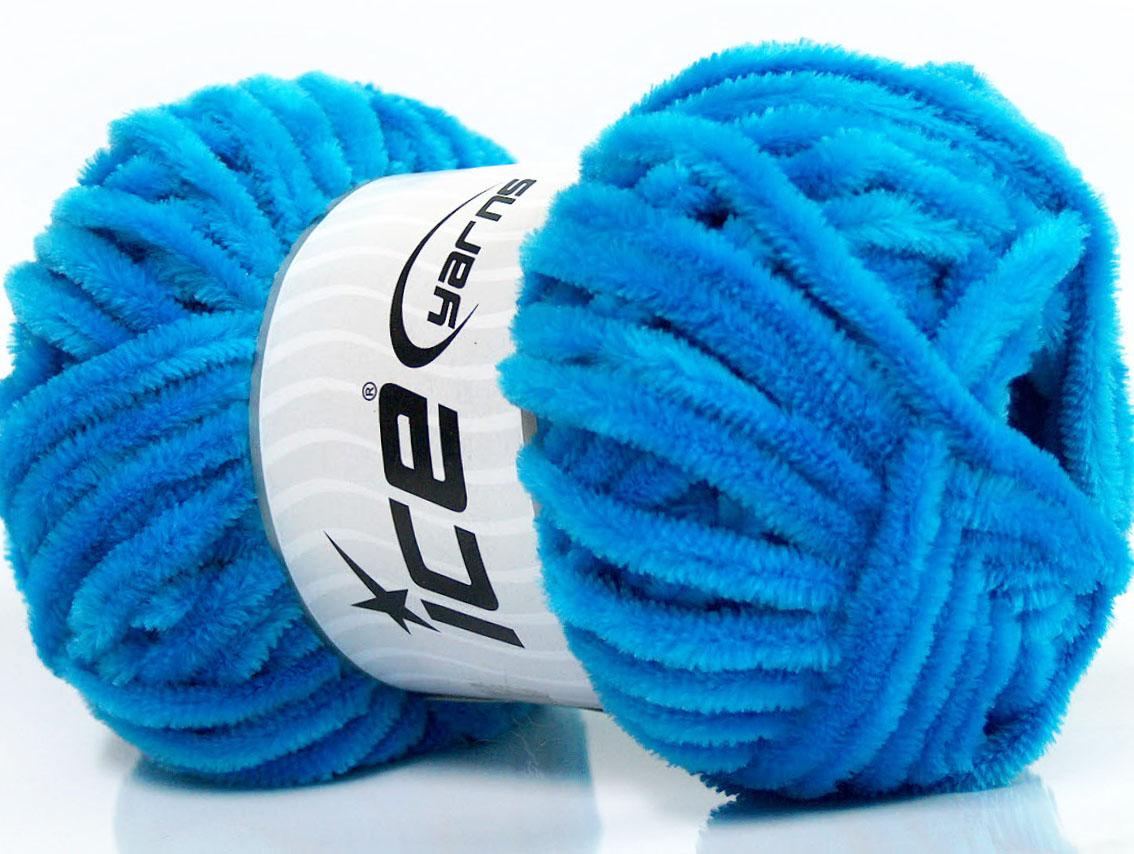 Velvet Chenille Turquoise, Chenille Yarns | Ice Yarns Online