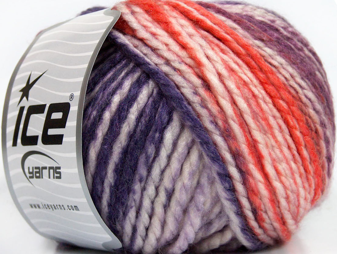 Fun Wool Bulky White Purple Orange Maroon